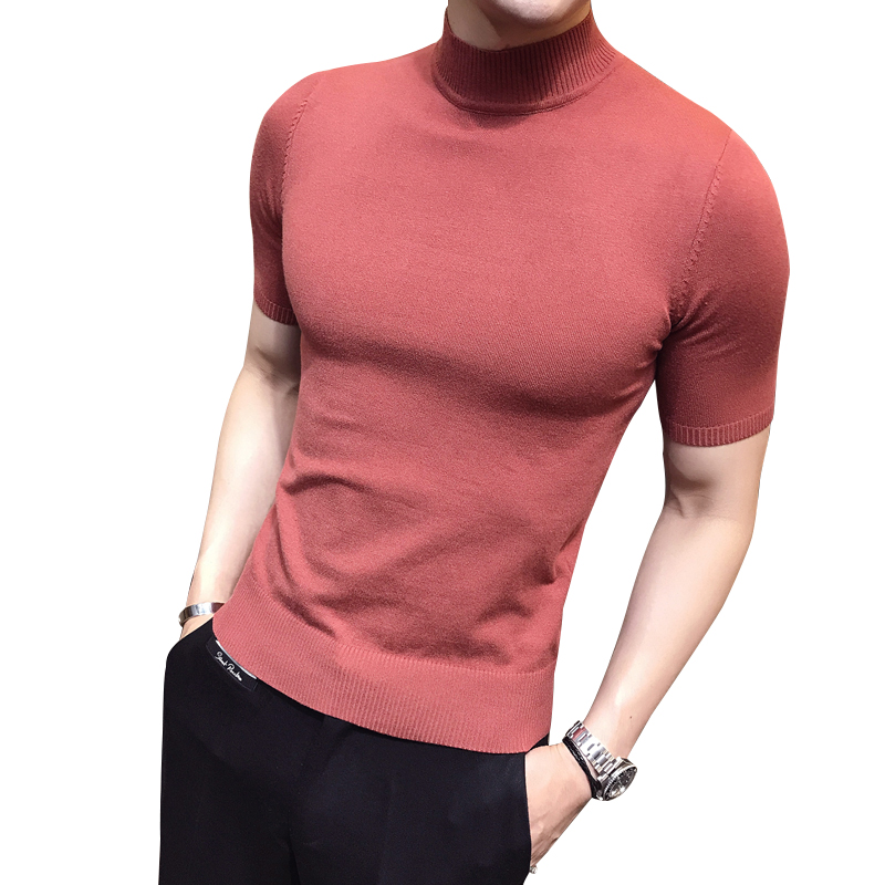 Fashion Men Blouse Short Sleeve Fit Pollover Shirt V Neck Causal Top Red