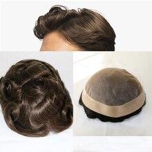 Парик из 100% человеческих волос для мужчин, ПУ, с кружевом, парик из человеческих волос, замена для мужской системы t, бесплатная доставка
