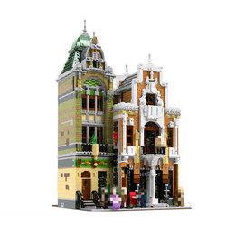 The brickstive MOC Post Office Modern Library streetview Modular Model Building Blocks Bricks Kids Toys For children gifts