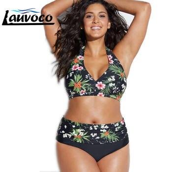 Bikini Set Large Cup Swimwear Women Retro Halter Neck Cross Swimming Suit High Waist Big Size Swimsuit Biquini Plus Size XL-4XL 1