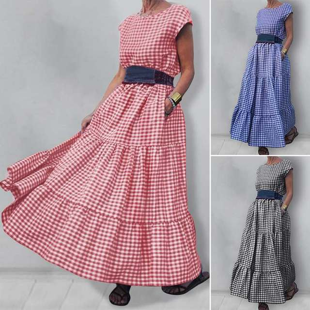 gingham dress, nice belted, tri-level skirting swing, cuff sleeve 1