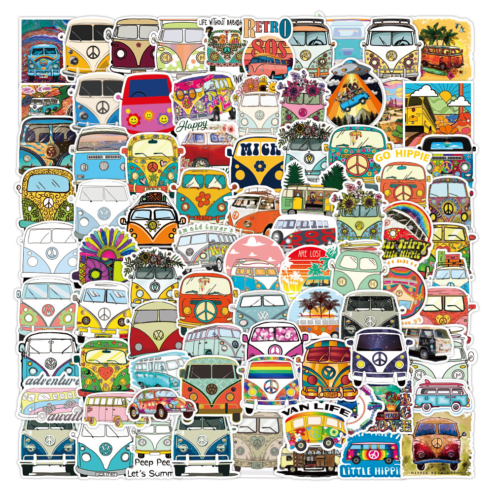 50/100PCS Retro Hippies Stickers Love and Peace Bus Decals for DIY Stationery Car Motorcycle Laptop Pad Luggage Skateboard