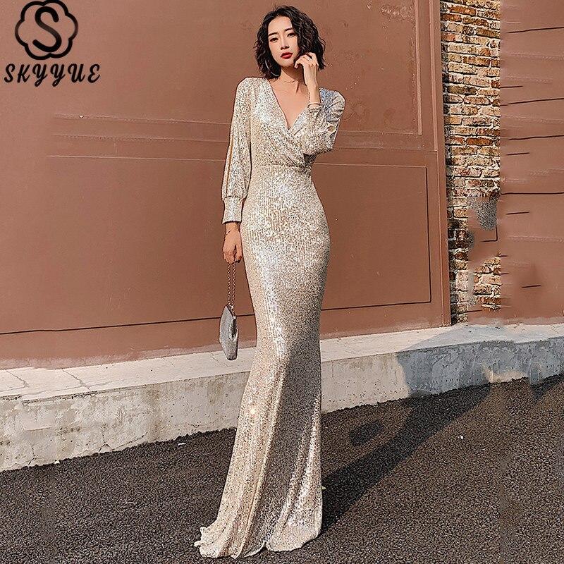 Skyyue Long Dresses Evening V-Neck Pleat Floor-Length Robe De Soiree K063 Sequined Mermaid Long Sleeve Formal Gowns