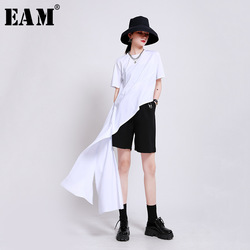 Женская Асимметричная длинная футболка EAM, белая футболка с круглым вырезом и коротким рукавом, весна-лето 2020, 1W944