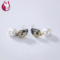 2019 New Stud Earring 100% Real 925 Sterling Silver fine Jewelry Women Natural Pearl fashion magnetic Earring for kids girls E02