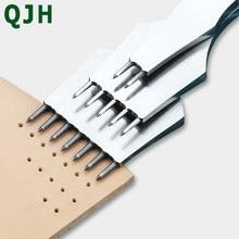 QJH-perforadora de cuero de alta calidad, plantillas de acero, cincel redondo de hierro, punzón afilado de cuero Pulido-3,0/4,0/5,0mm