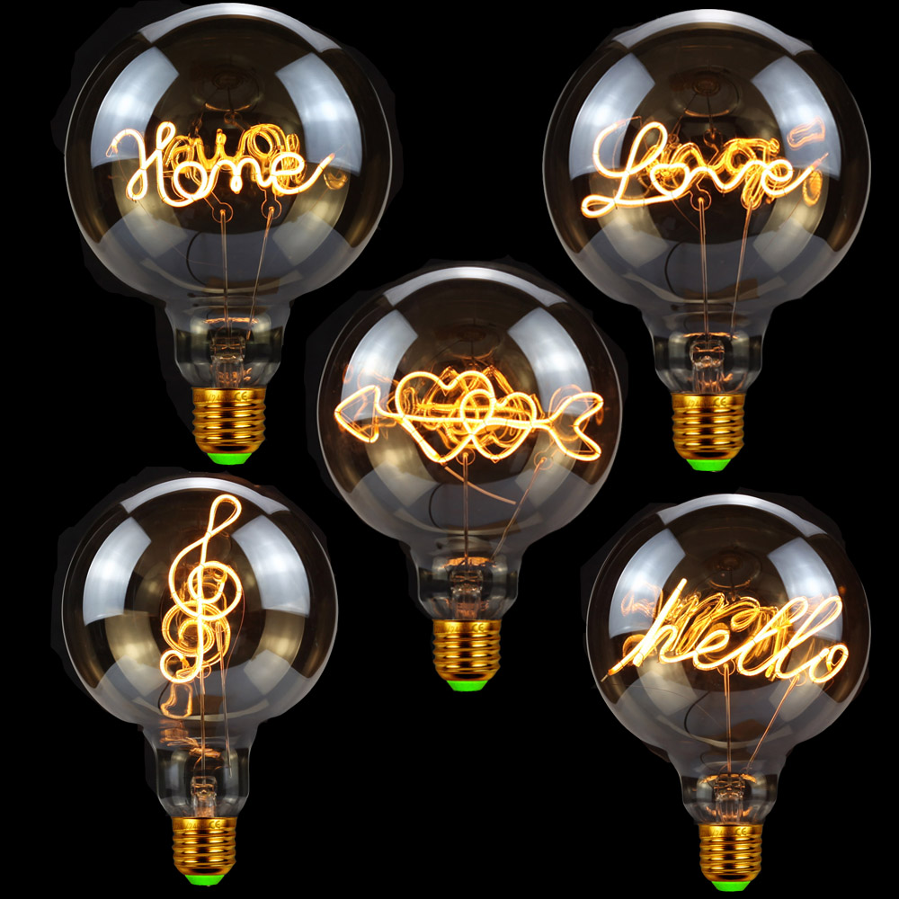 TIANFAN Edison Bulbs Vintage Light Bulb G125 Led Bulb Love Home Filament 4W Dimmable 220V E27 Table Lamp Bulb
