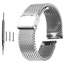 18mm 20mm 22mm 24mm uniwersalny Milanese Watchband Quick Release Watch Band Mesh stalowy pasek pasek na nadgarstek bransoletka czarny tanie tanio wuxun CN (pochodzenie) 175mm-195mm STAINLESS STEEL Nowy bez tagów AA114+AA13 Folding Clasp