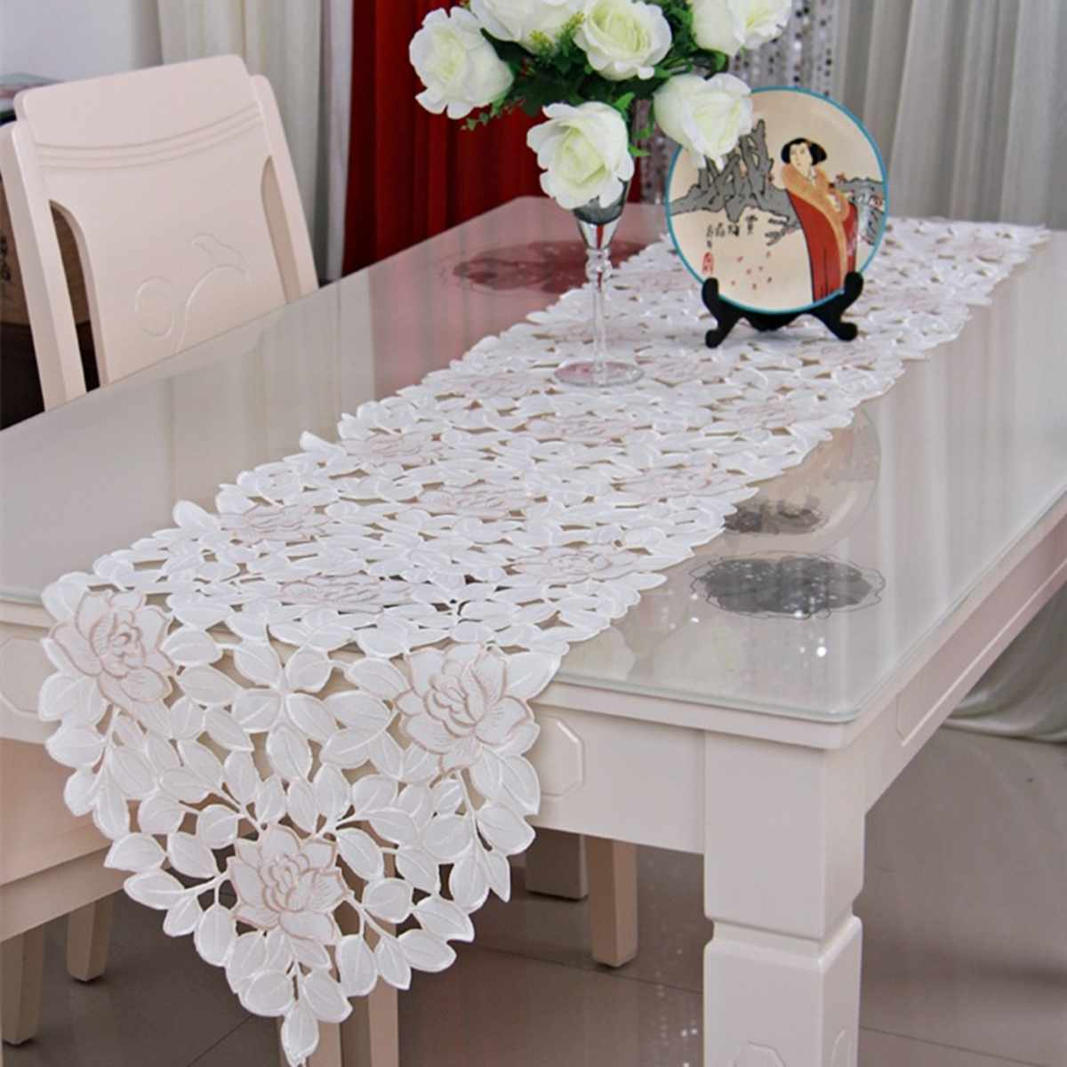 40*150/40*176 Cm Lace Flowers Table Runner Embroidered Dining Room Tablecloth Cover Party Banquet Wedding Decoration White