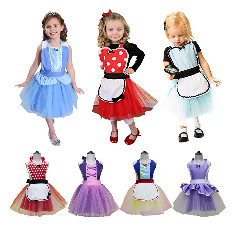 Halloween Costumes For Girls Alice In Wonder Anna Elsa Princess Costume Apron For Halloween Costume Girl Birthday Party Dress Up