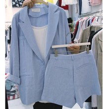 2019 New Casual Spring Women 2 Piece Set Lapel Long Sleeve Blazer With Button Fly Pockets Shorts Loose Women's Sets