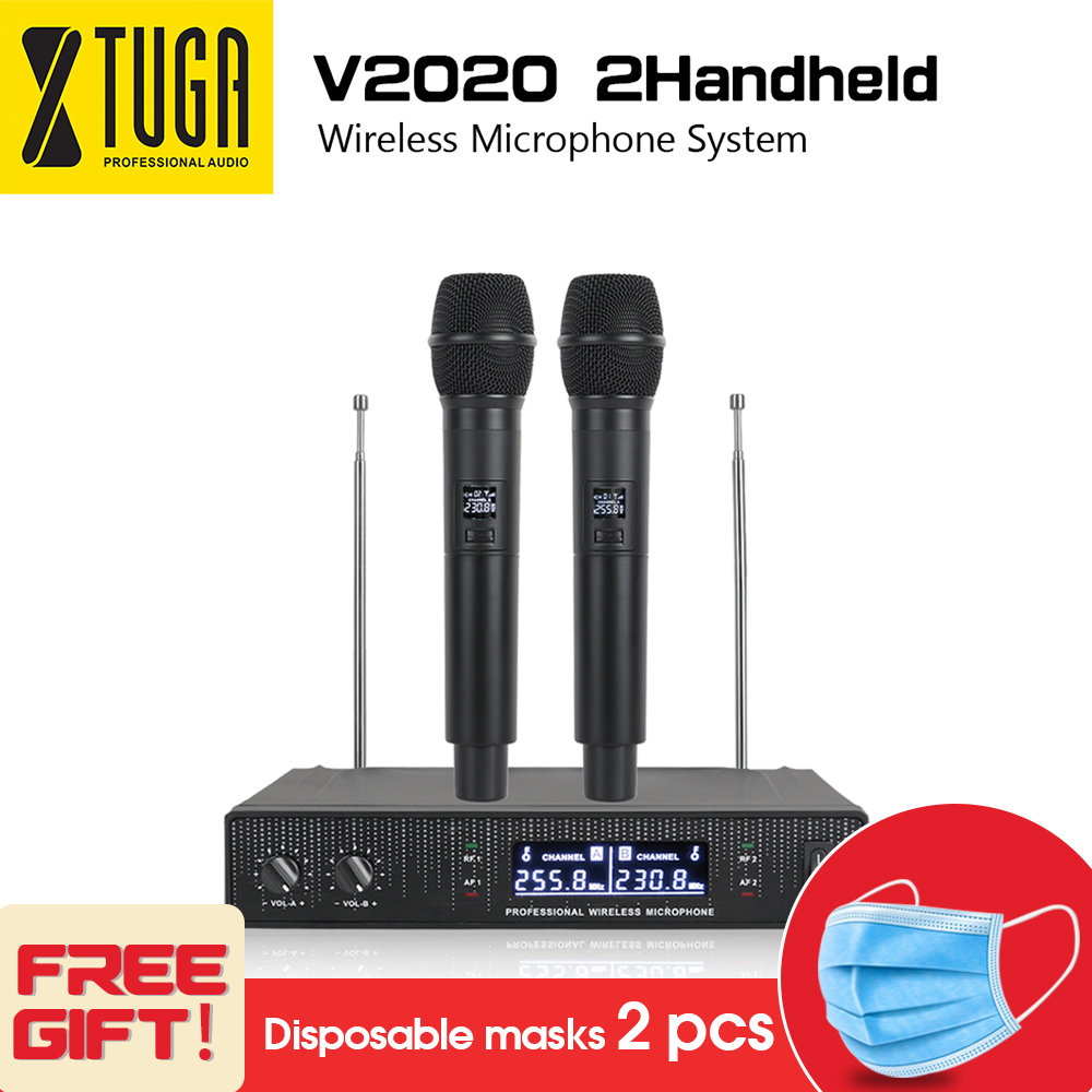 V2020 VHF Wireless Microphone System with HandHeld mic double way channeldesign  anti interference For Wedding Conference|Microphones| |  - title=