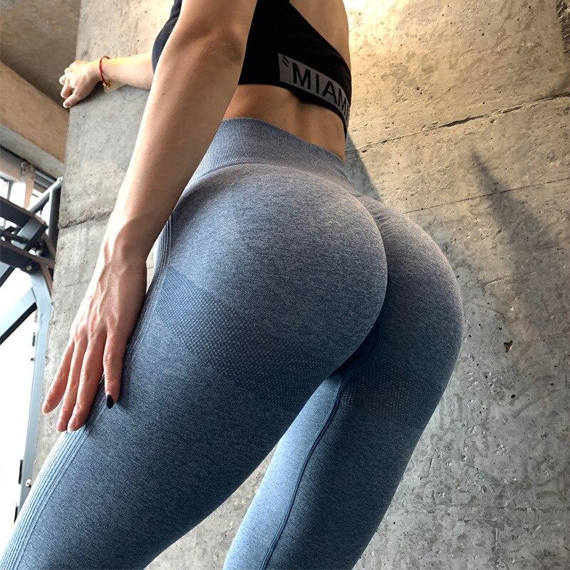 BLUE-Seamless Yoga Leggings Women Sportwear