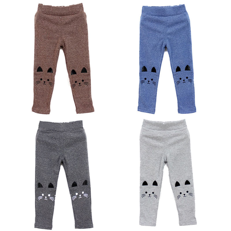Cute Rabbit Printed Girls Child Pants Winter Autumn Bottoms Kids Baby Toddler Inside Warm Fleece Leggings Trousers 24