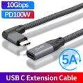 Удлинительный кабель USB C PD 100 Вт, быстрая зарядка, мобильный телефон Android USB Type-C для передачи данных Шнур для Macbook Huawei Xiaomi USB-C удлинитель шнура