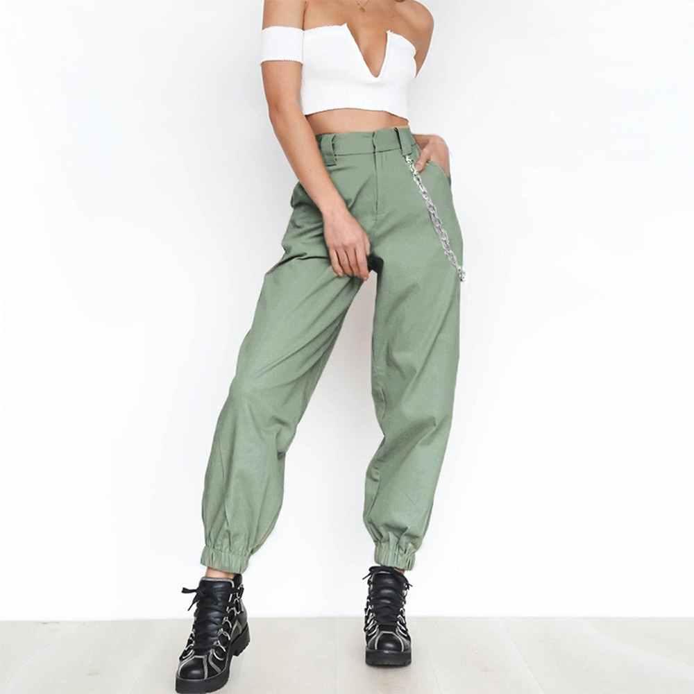 LITTHING S-3XL pantalones de talla grande mujer Casual de cintura alta Cargo Pantalones de mujer sueltos sólidos pantalones bolsillos cintura elástica