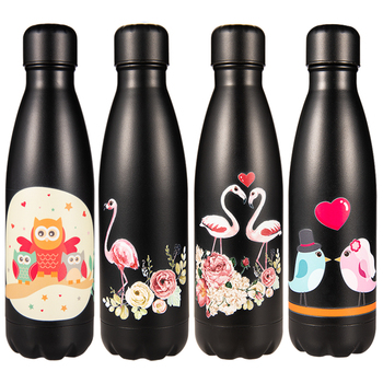 Custom 20 Colors Floral Water Bottle Stainless Steel Thermos Flask Insulated Cold Coffee Cup Holder Bike Gym Drink Bottle Shaker image