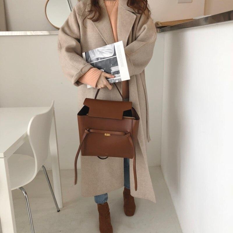 19 Winter Oversize Long Trench Coat Women Cashmere Coat Korean Lady Windbreaker Outwear Streetwear 77