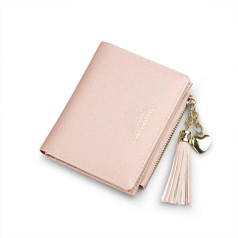 2019 borla carteira feminina pequena bonito carteira feminina de couro curto carteiras com zíper bolsas portefeuille feminino bolsa embreagem