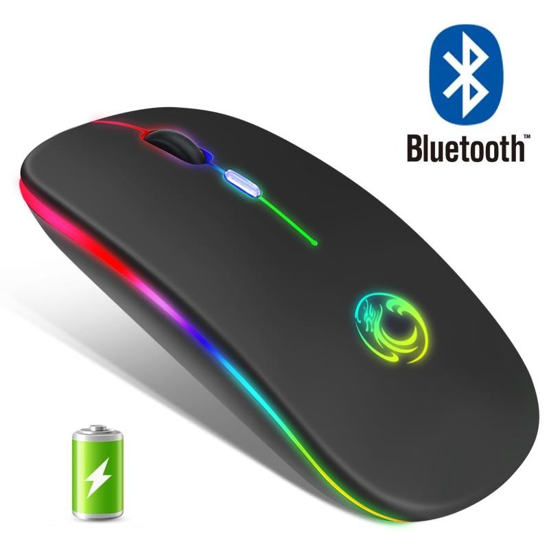Bluetooth-мышь компьютерная беспроводная Бесшумная перезаряжаемая эргономичная со светодиодный Ной подсветкой