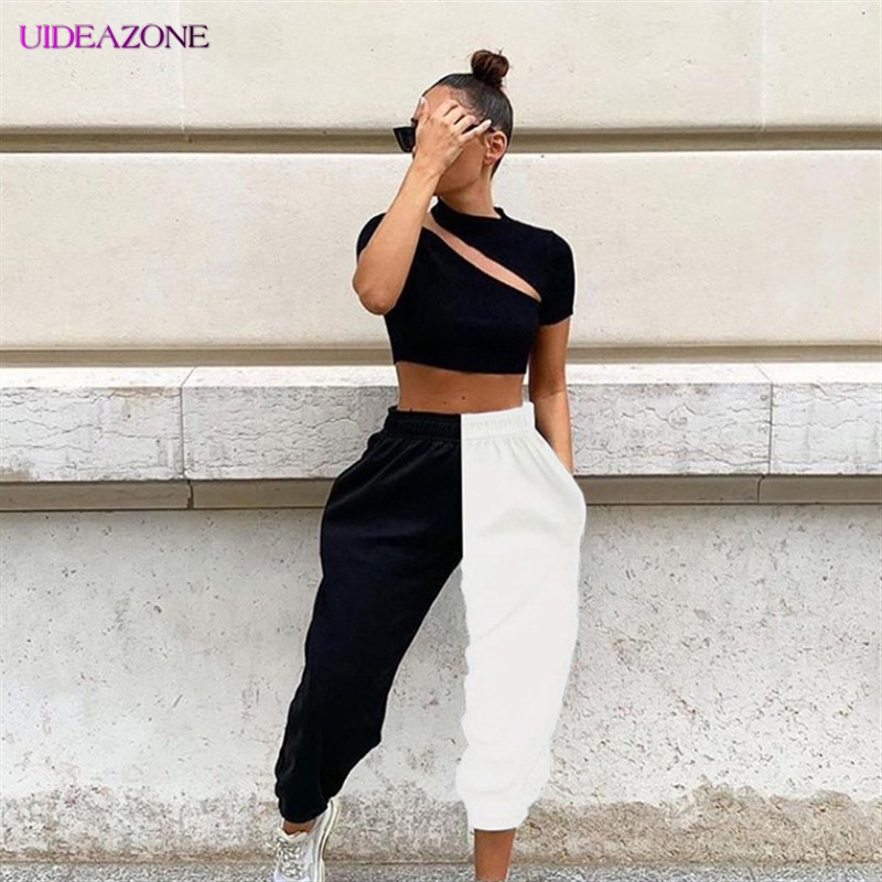 Two Tone Color Women Pants High Waist Pantalon Bicolor Casual Trouser Streetwear Full Lenght Patchwork Female Pants K-pop Spring