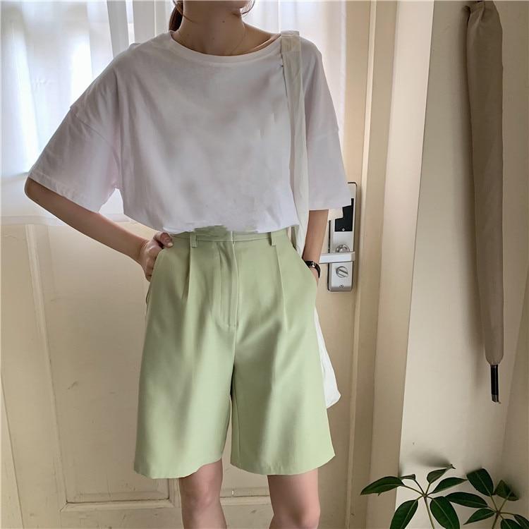 H9844163096ef4f3ea4ba2e905ecd794ev - Summer High Waist Wide Leg Loose Solid Shorts