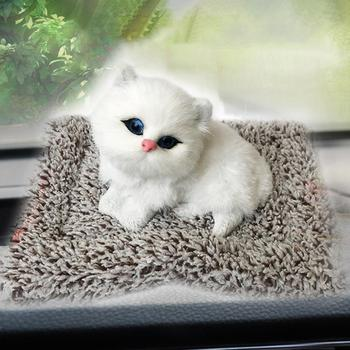 Plush Simulation Cat Stuffed Toy Home Car Decor Embedded Bamboo Charcoal Bag Decoration Ornaments Birthday Gift image
