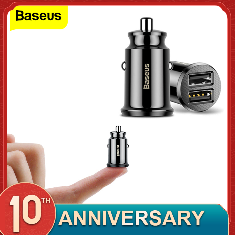 Baseus Mini Car Charger For IPhone X Samsung S10 Xiaomi Mi 9 3.1A Fast Car Charging USB Car Charger Adapter Mobile Phone Charger