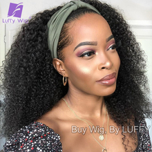 200 Density Afro Kinky Curly Human Hair Wigs Glueless Headband Wig Brazilian Human Hair Machine Made Wig Natural Color luffywig