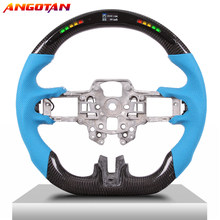 Steering Wheel Fit For Mustang15-17 Carbon Fiber LED Perforated Leather Wheel