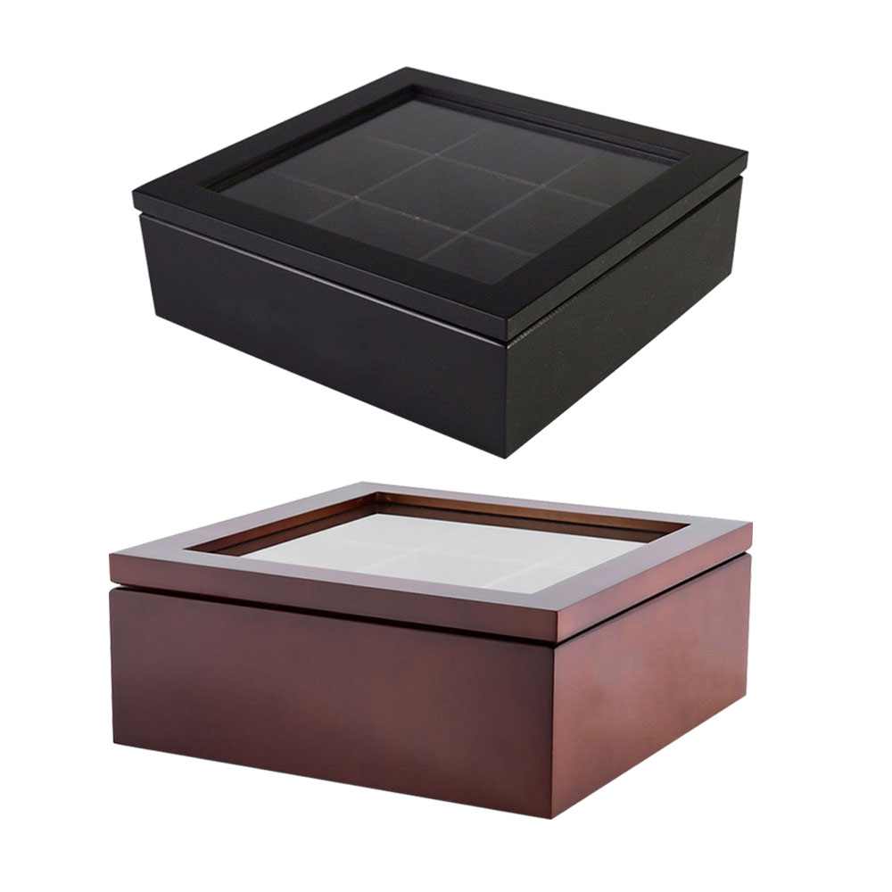 Wooden Tea Box 9-Compartment Tea Coffee Storage Box