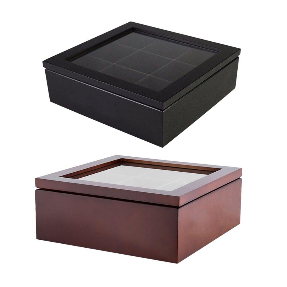 Wooden Tea Box 9-Compartment Tea Coffee Storage Box