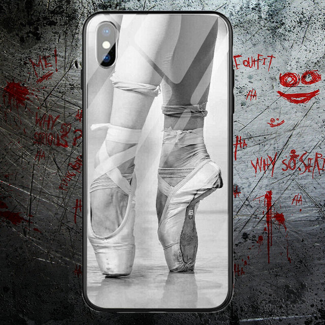 Ballet Ballerina Ballet Slippers Printing Tempered Glass Phone Cases for iPhone X XR XS 11 Pro Max 10 7 6 5 5S SE 2020 6S 8 Plus