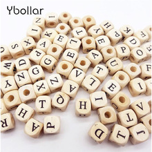 100pcs/lot Mix Alphabet Letter/Number Beads Wooded beads 10mm Square For Creative Name Jewelry Making Necklace Spacer Beaded