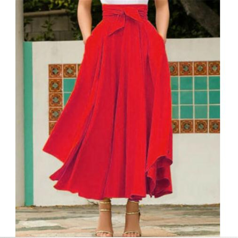 2019 Women Vintage High Waist Skirts Ladies Maxi Pleated Skirt Long Maxi Fashion Skirt Females Full Length Solid Color Skirts