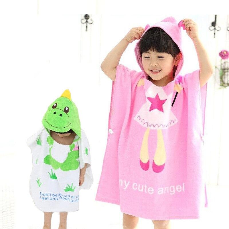Children Angel Dinosaur Hooded Bath Towel CHILDREN'S Bathrobes Mantle Swimming Beach Towel Supplies Men And Women Children Cotto