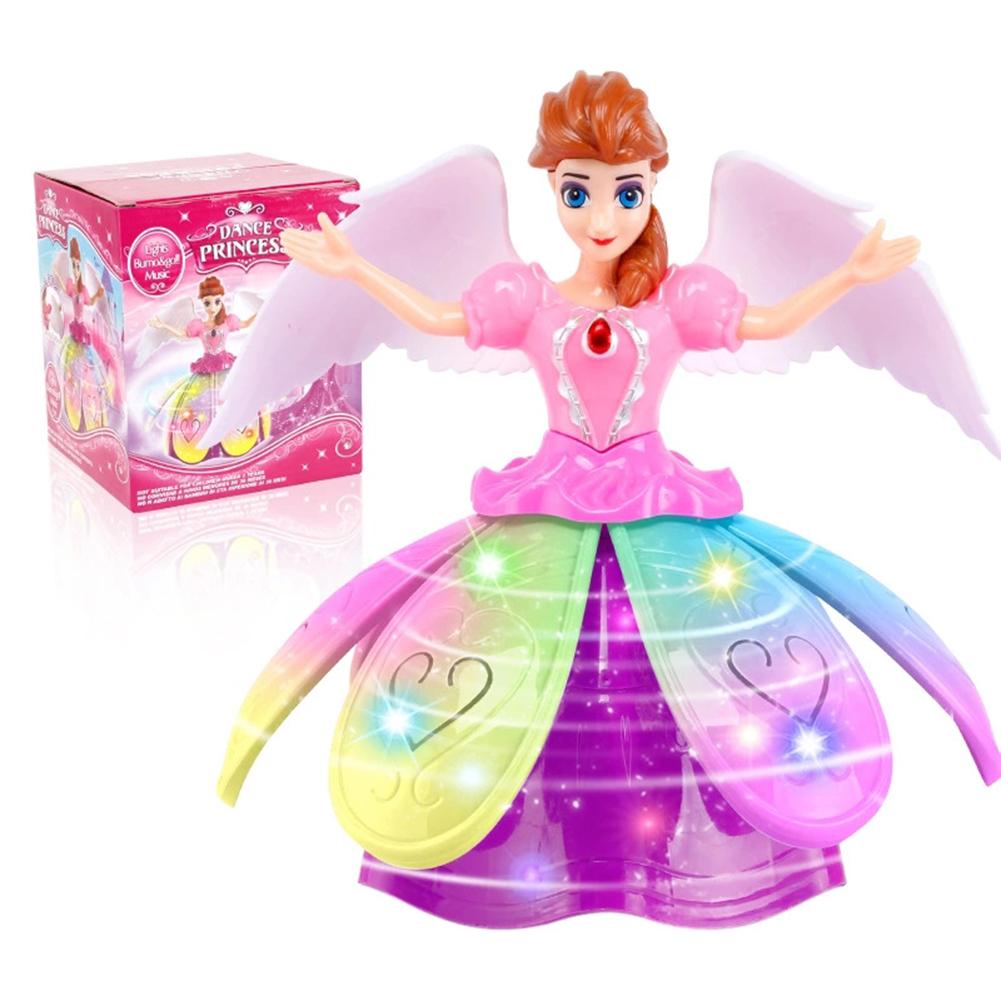 Princess Doll Toys Elsa Anna Doll With Wings Action Figure Rotating Dance Projection Light Music Model Dolls For Girls Gifts