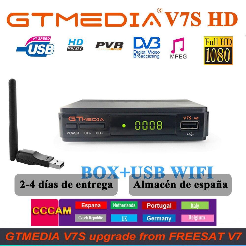 Gtmedia DVB-S2 V7S HD Satellite Decoder 1080P DVB-S2 GT Media V7S HD Include USB Wifi H 265 TV Box Powered by v7 Remote Control