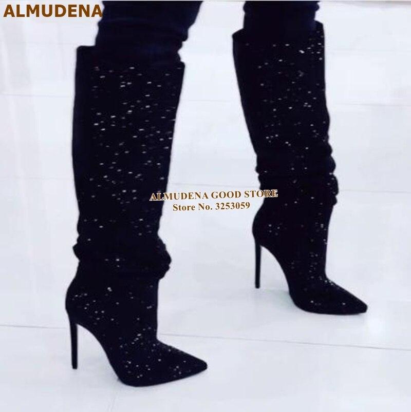 黑色水钻细高跟及膝靴 (4)