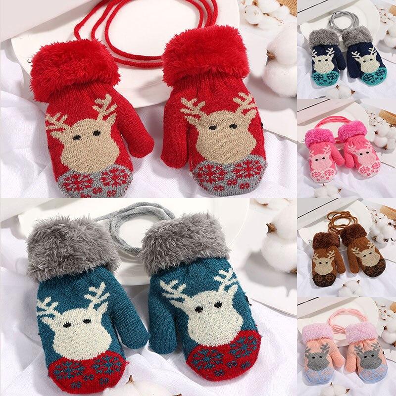 New Cute Winter Baby Gloves Children Christmas Elk Knitted Thicken Full Finger Warm Rope Mittens High Quality Gloves Kids Gloves