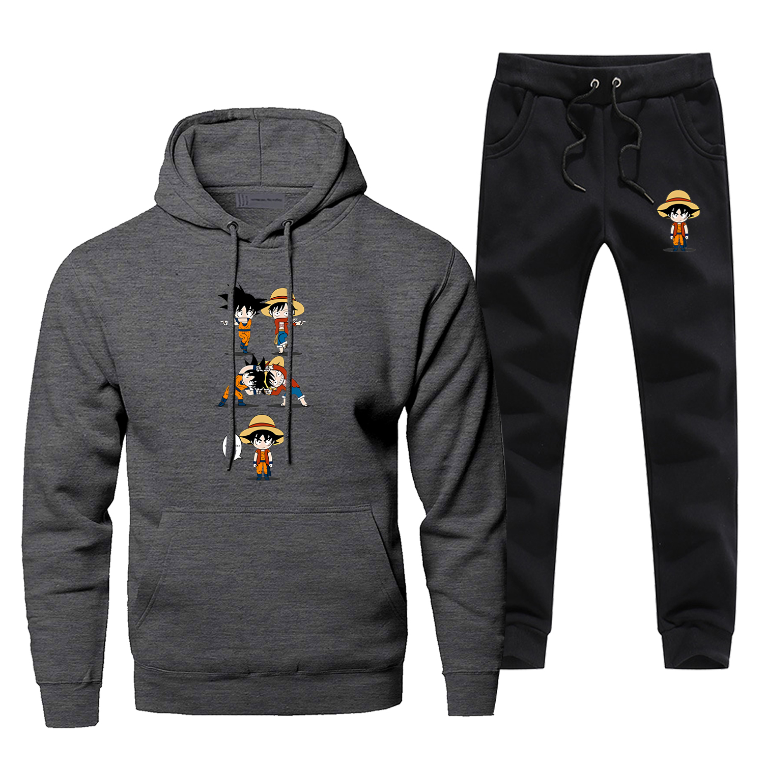 Funny One Piece Luffy Dragon Ball Goku Fusion Hoodies+pants Two Piece Sets Men Harajuku Streetwear Fleece Sportswear Sweatpants