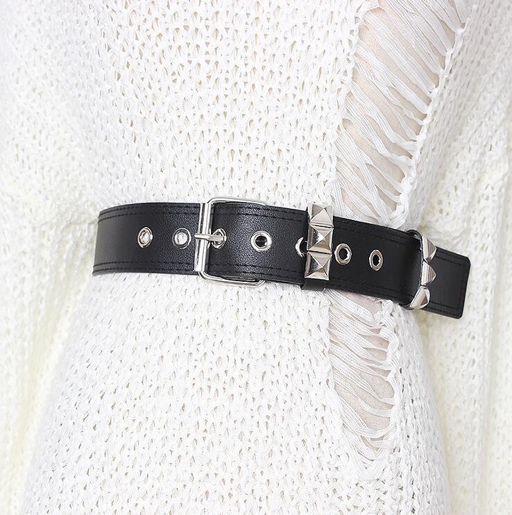 Women's Runway Fashion Rivet Pu Leather Cummerbunds Female Dress Coat Corsets Waistband Belts Decoration Wide Belt R2185