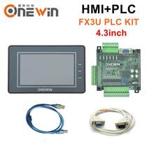 Painel da tela de toque de hmi 4.3 polegadas e placa de controle industrial do plc da série fx3u com cabo de comunicação do download onewin