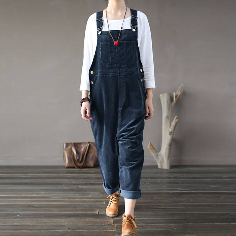 Plus Size Women Corduroy Jumpsuits 2019 Autumn Harem Pants Button Overalls Casual Long Pantalon Palazzo Female Rompers Playsuits