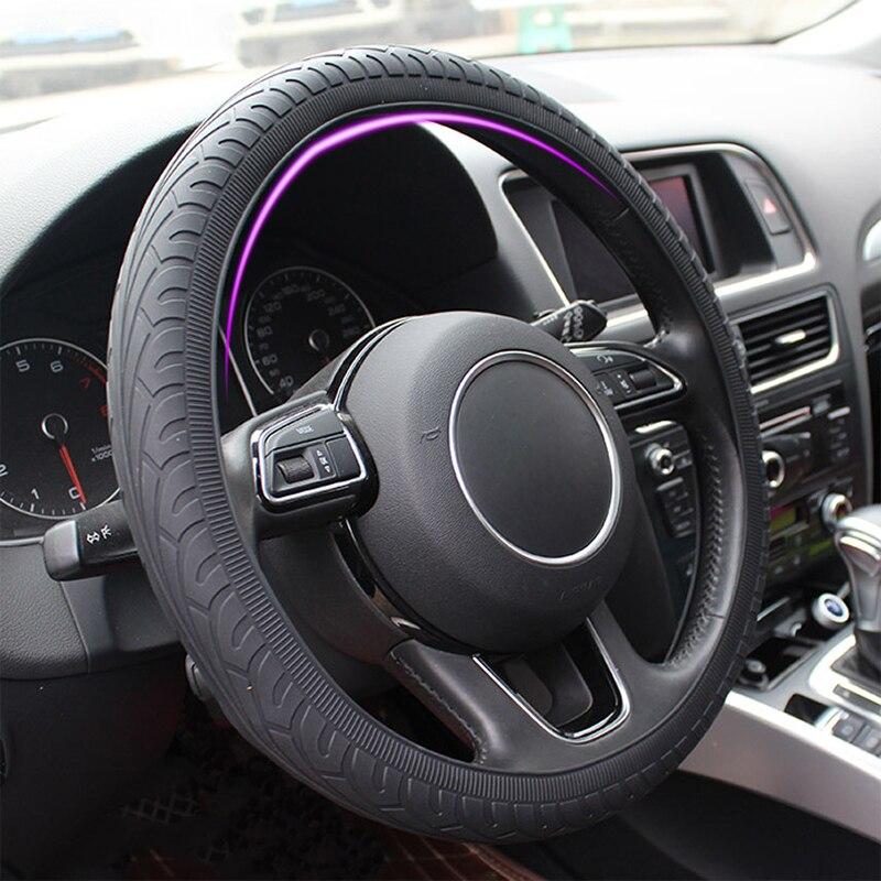 Автомобильный силиконовый чехол на руль, чехол, оболочка, противоскользящие автомобильные аксессуары для Audi, Nissan, Peugeot, Honda, KIA, Hyundai, LADA, BMW и т. ...