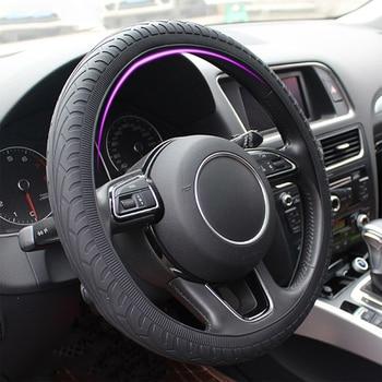 Car Silicone Steering Wheel Case Cover Shell Skidproof Car Accessories For Audi Nissan Peugeot Honda KIA Hyundai LADA BMW etc.