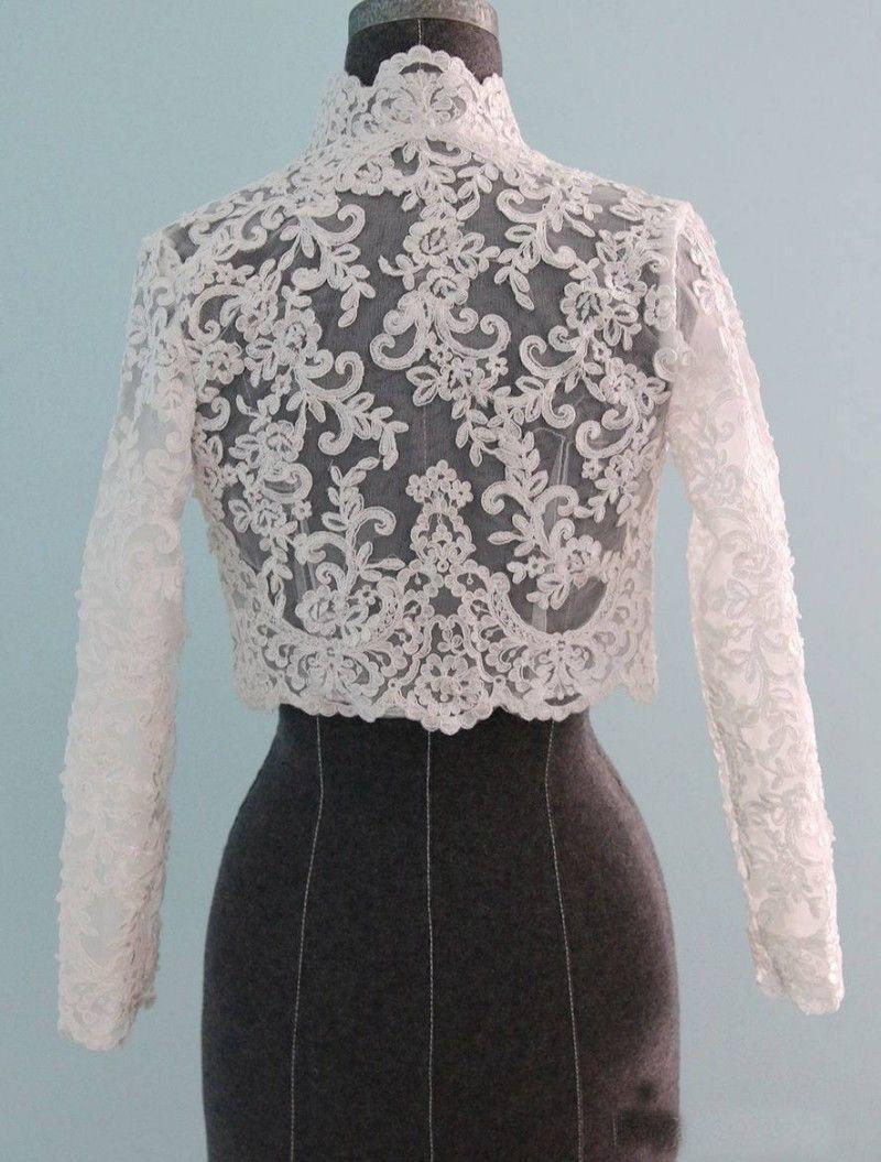 Long Sleeve Wedding Bolero Appliques Bridal Wraps For Wedding Party Prom High Neck Ivory Bride Jacket Bolero Shrug Custom
