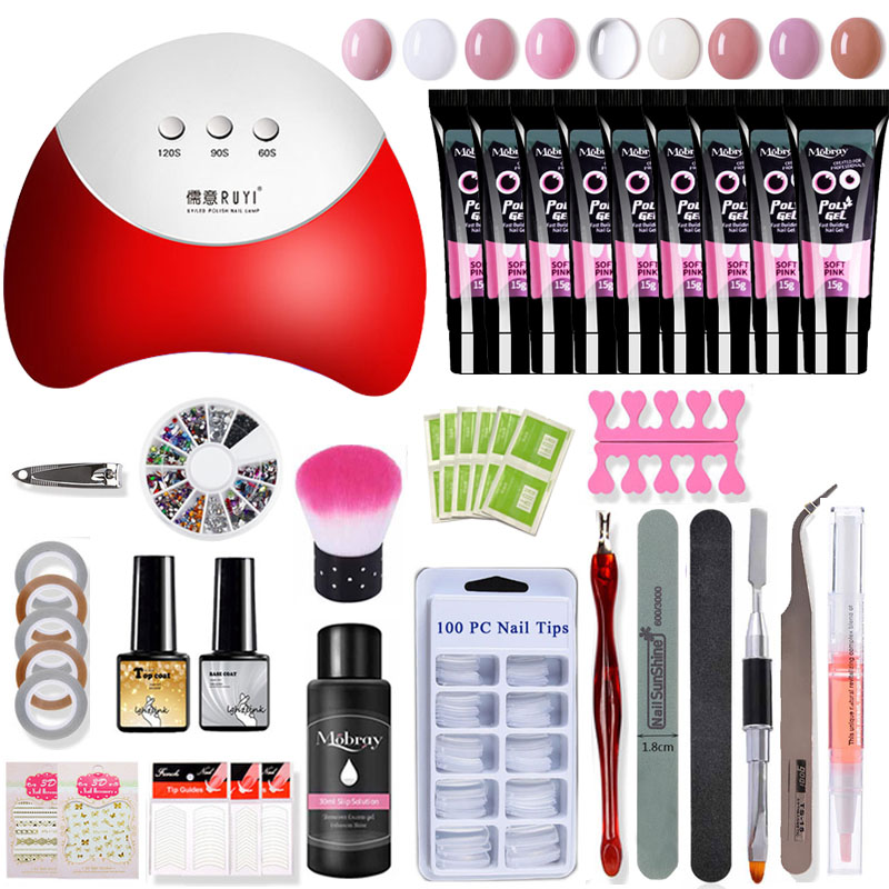40pcs Polygel Nail Kit 36w Led Lamp Nail Gel Polish Set Quick Building For Nail Extensions Hard Jelly Gel Polygel Manicure Set