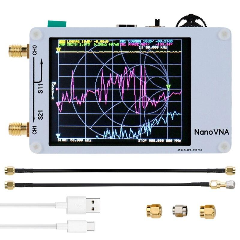 Analyseur de réseau vectoriel Nano VNA appuyant sur l'écran 50KHz-900MHz analyseur d'antenne à ondes courtes numérique MF HF VHF avec câble RF