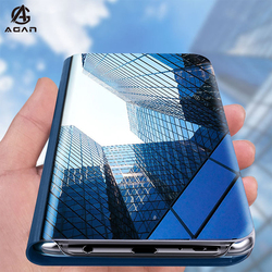Huawei Honor 9C Case Luxury Clear View Mirror Kickstand Case For Honor 9C AKA-L29 Cover Shockproof Flip Leather Phone Shell